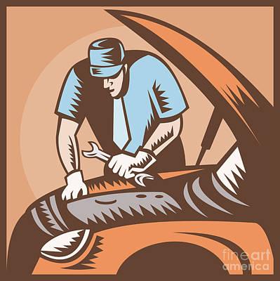 Automobile Mechanic Car Repair Print by Aloysius Patrimonio