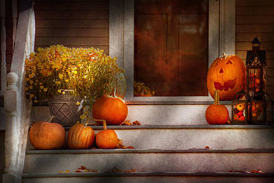 Autumn - Halloween - We're All Happy To See You Print by Mike Savad