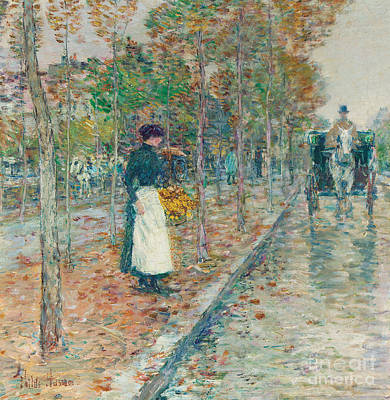 Women On Horses Painting - Autumn Boulevard In Paris by Childe Hassam