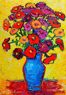 Autumn Flowers Zinnias Original Oil Painting Print by Ana Maria Edulescu