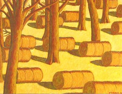 Autumn Haybales Original by John  Turner