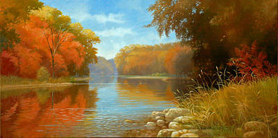 Painting - Autumn On The Kishwaukee by Tom Heflin