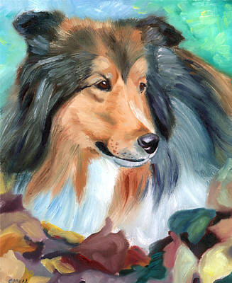 Sheltie Painting - Autumn - Shetland Sheepdog by Lyn Cook