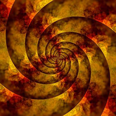 Luminescent Digital Art - Autumn Spiral by Bonnie Bruno