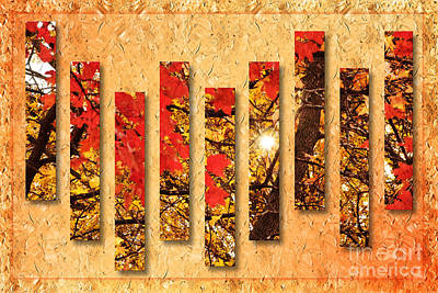 Woodlands Scene Mixed Media - Autumn Sunrise Painterly Abstract by Andee Design