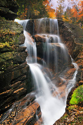 New Hampshire Autumn Photograph - Avalanche Falls - Franconia Notch by Thomas Schoeller