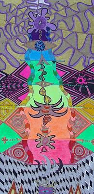 Visionary Art Drawing - Avatar Meditation by Monica Dias
