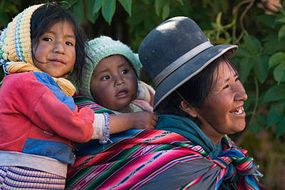 South America Photograph - Aymara Women With Their Children. Republic Of Bolivia. by Eric Bauer