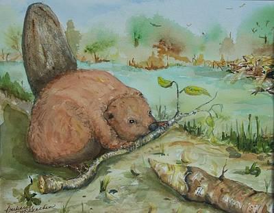 Baby Beaver II Print by Barbara McGeachen
