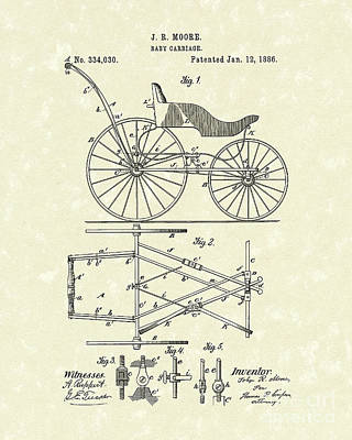 Stroller Drawing - Baby Carriage 1886 Patent Art by Prior Art Design