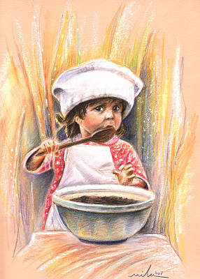 Bakery Drawing - Baby Cook With Chocolade Cream by Miki De Goodaboom