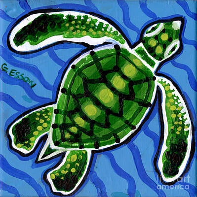 Sea Turtles Painting - Baby Green Sea Turtle by Genevieve Esson