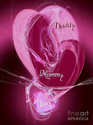 Heart Illustration Digital Art - Baby Makes 3 by Andee Design