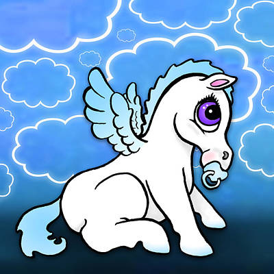 Pegasus Drawing - Baby Pegasus With Binky - Blue by Lisa A Bello