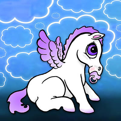Pegasus Drawing - Baby Pegasus With Binky - Purple by Lisa A Bello