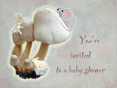 Teddie Photograph - Baby Shower Invitation - Mushroom Playground by Mother Nature