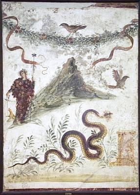 Bacchus And Vesuvius, Roman Fresco Print by Sheila Terry