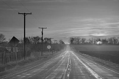 Golden Photograph - Back Country Road Sunrise Bw by James BO  Insogna
