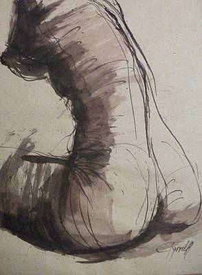 Sepia Ink Drawing - Back Torso - Sketch Of A Female Nude by Carmen Tyrrell