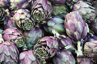 Background Of Artichokes Print by Jane Rix