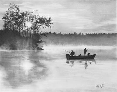 Bass Fishing Drawing - Backwater Sunset by Brian Christensen