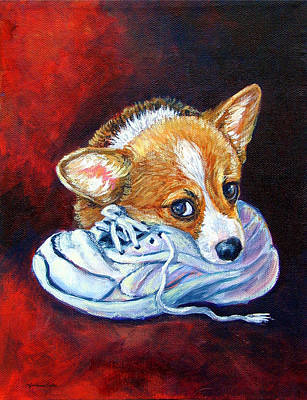 Bad Puppy - Pembroke Welsh Corgi Print by Lyn Cook