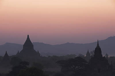 Bagan Temples At Sunset Print by Gloria & Richard Maschmeyer