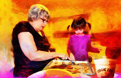 Pig Mixed Media - Baking Cookies With Grandma by Nikki Marie Smith