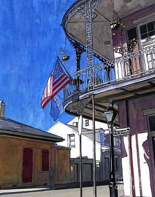 Balcony With American Flag Print by John Boles