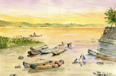 Laundry Painting - Bali Fishing Village by Melly Terpening