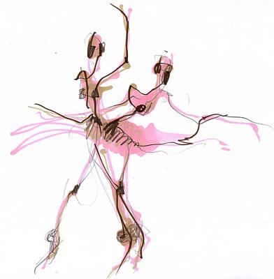Ballet Drawing - Ballerina In Pink Tutu Or Sugar Plum by Lousine Hogtanian
