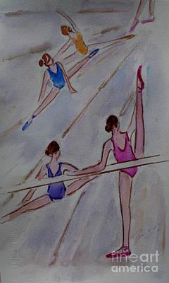 Watercolor Painting - Ballerina Studio by Xueling Zou
