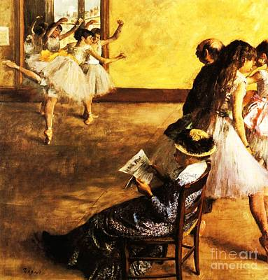 Ballet Painting - Ballet Class  The Dance Hall by Pg Reproductions
