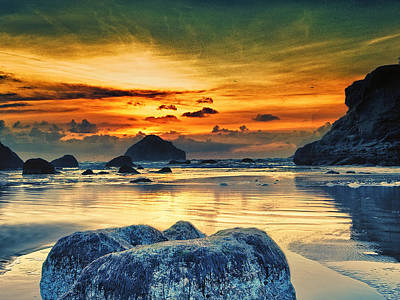 Bandon At Sunset Print by Alvin Kroon