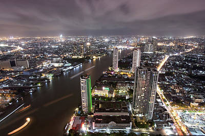 Bangkok City At Twilight  Print by Anek Suwannaphoom