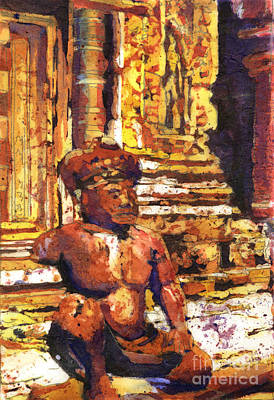Rice-paper Painting - Banteay Srei Statue by Ryan Fox