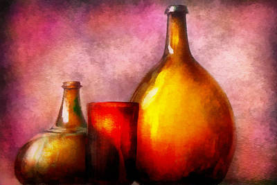 Custom Glass Photograph - Bar - Bottles - A Still Life Of Bottles by Mike Savad