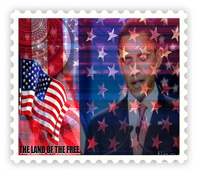 Barack A Stamp Print by Fania Simon