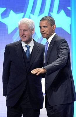 Barack Obama, Bill Clinton Print by Everett