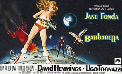 Barbarella, Jane Fonda On Poster Art Print by Everett