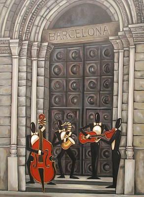 Church Pillars Painting - Barcelona by Lori McPhee