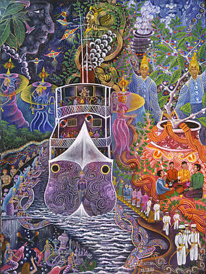 Visionary Art Painting - Barco Fantasma by Pablo Amaringo