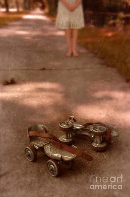 Barefoot Girl On Sidewalk With Roller Skates Print by Jill Battaglia