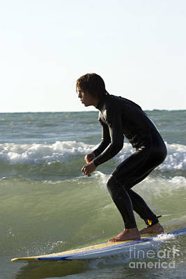 Beach Photograph - Barefoot Surfer On Lake Michigan Wave by Christopher Purcell