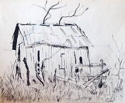 Rod Ismay Drawing - Barn 1 by Rod Ismay