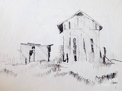 Drawing - Barn And Shed by Rod Ismay