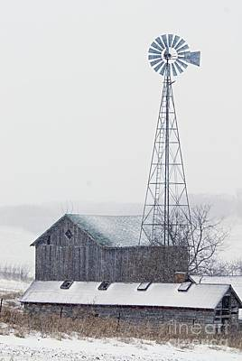 Barn And Windmill In Snow Print by Larry Ricker