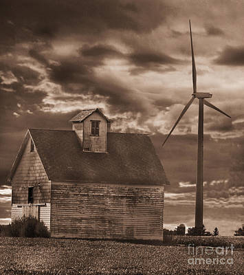 Barn And Windmill Print by Jim Wright