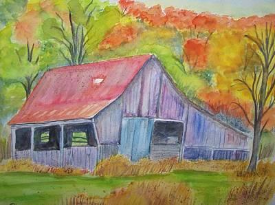 Barn At Round Bottom Print by Belinda Lawson