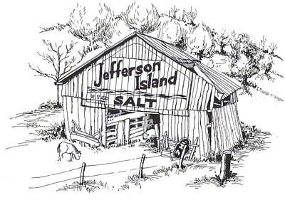 Barn In Midwest - Jefferson Island Salt Print by Robert Birkenes